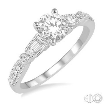 Ashi Diamonds 14k White Gold Straight Diamond Engagement Ring - 247D3DJFHWG-LE