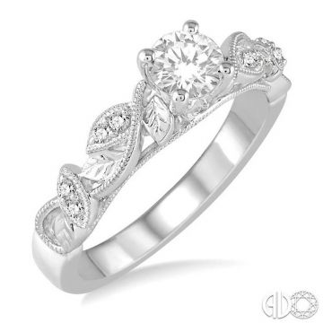 Ashi Diamonds 14k White Gold Floral Diamond Engagement Ring - 264D5DJFHWG-LE