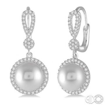 Ashi Diamonds 14k White Gold Pearl & Diamond Earrings - 56855DJFHERWPWG
