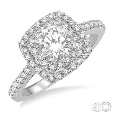 Ashi Diamonds 14k White Gold Double Halo Diamond Engagement Ring - 243H1DJFHWG-LE-RD