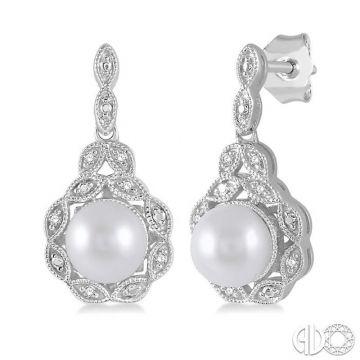 Ashi Diamonds Sterling Silver Pearl & Diamond Earrings - 88319DJSSSLER