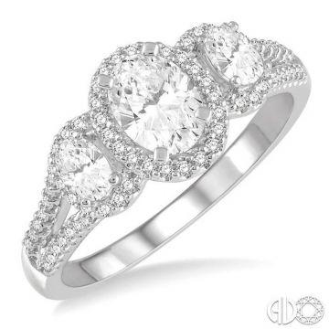 Ashi Diamonds 14k White Gold 3 Stone Diamond Engagement Ring - 267K2DJFHWG-LE