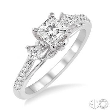 Ashi Diamonds 14k White Gold 3 Stone Diamond Engagement Ring - 14632DJFHWG-LE