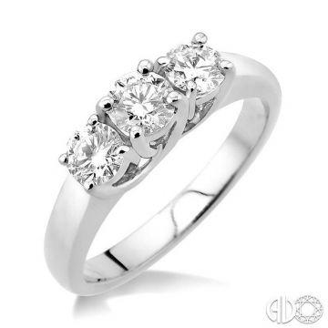 Ashi Diamonds 14k White Gold 3 Stone Diamond Engagement Ring - 30941DJFCW
