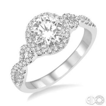 Ashi Diamonds 14k White Gold Halo Diamond Engagement Ring - 207C2DJFHWG-LE
