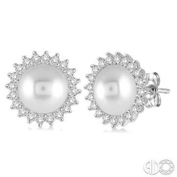 Ashi Diamonds 14k White Gold Pearl & Diamond Earrings - 56806DJFHERWG