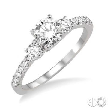 Ashi Diamonds 14k White Gold 3 Stone Diamond Engagement Ring - 14642DJFHWG-LE