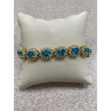 14K Yellow Gold Blue Topaz & Diamond Bracelet