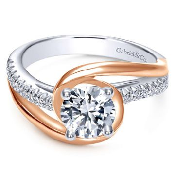 Gabriel & Co. Bridal Contemporary 14k Two-tone Gold Diamond Bypass Engagement Ring