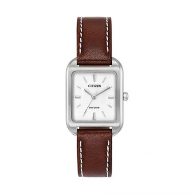 Citizen White Stainless Steel Diamond Leather Band Watch