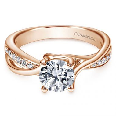 Gabriel & Co. Bridal Contemporary 14k Rose Gold Diamond Bypass Engagement Ring