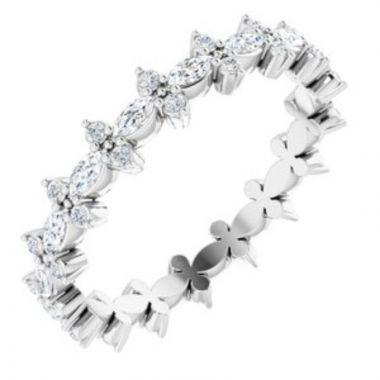 14K White 5/8 CTW Diamond Eternity Band Size 7