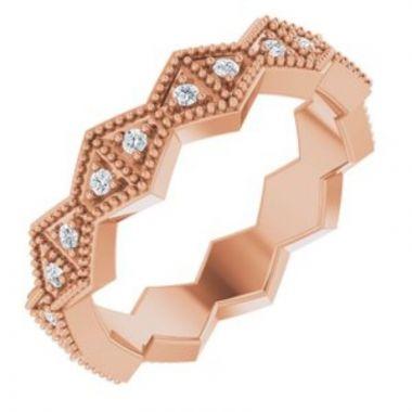14K Rose 1/5 CTW Diamond Geometric Eternity Band Size 7