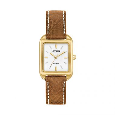 Citizen Yellow Stainless Steel Diamond Leather Band Watch