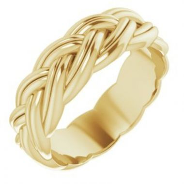 14K Yellow 6 mm Woven-Design Band Size 7