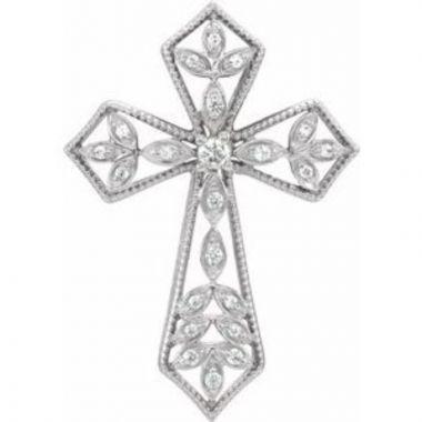 14K White 1/10 CTW Diamond Cross Pendant