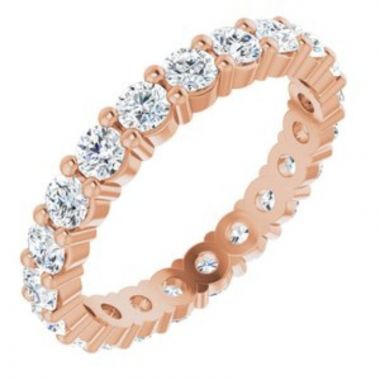 14K Rose 2.5 mm Round Forever One Created Moissanite Eternity Band Size 7