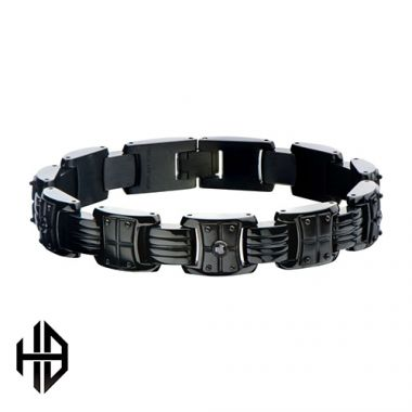 Inox Black Stainless Steel Diamond Bracelet