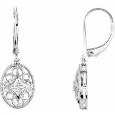 Sterling Silver .06 CTW Diamond Lever Back Earrings