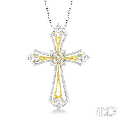 14k Two-Tone Gold Cross Collection Diamond Pendant