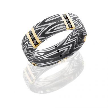Lashbrook Award Winning Rings Black Damascus Steel Diamond Wedding Band