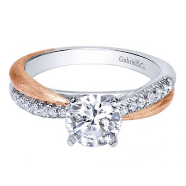 Gabriel & Co. Bridal Contemporary 14k Two-tone Gold Diamond Criss Cross Engagement Ring