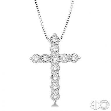 Ashi Diamonds 14k White Gold Cross Collection Diamond Pendant - 96452DJFHPDWG