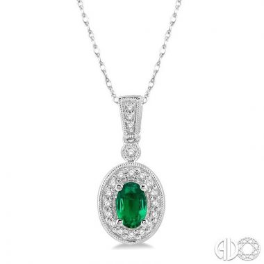Ashi Diamonds 14k White Gold Diamond & Gemstone Pendant - 58348DJFNPDEMWG