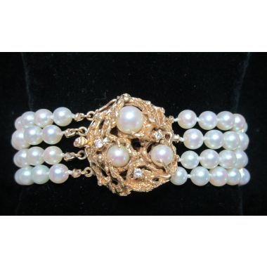 Dahlkempers Estate 14k Yellow Gold Pearl Bracelet