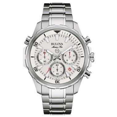 Bulova Marine Star White Stainless Steel Chronograph Watch
