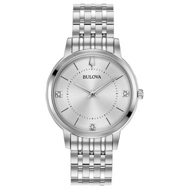 Bulova Classic White Stainless Steel Diamond Bracelet Watch