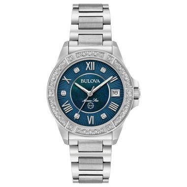 Bulova Marine Star White Stainless Steel Diamond Quartz Watch