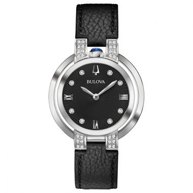 Bulova Rubaiyat Legendary Herritate Reinvented White Stainless Steel Diamond Leather Band Watch