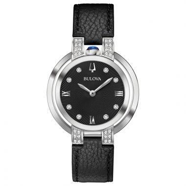 Bulova Rubaiyat Legendary Herritate Reinvented White Stainless Steel Diamond Leather Band Watch