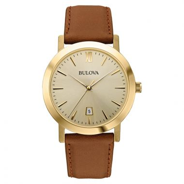 Bulova Classic Yellow Stainless Steel Leather Band Watch