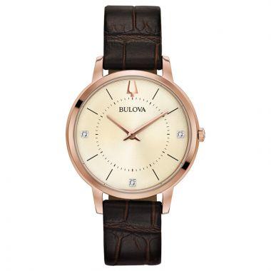 Bulova Classic Rose Stainless Steel Diamond Leather Band Watch