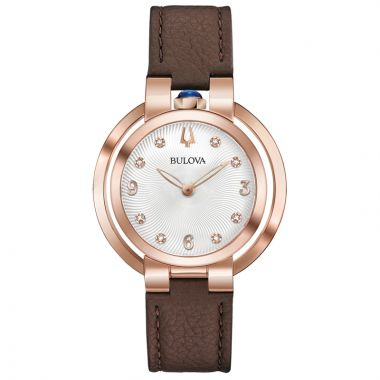 Bulova Rubaiyat Legendary Herritate Reinvented Rose Stainless Steel Diamond Leather Band Watch