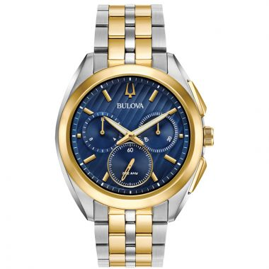 Bulova Curv Yellow Stainless Steel Chronograph Quartz Watch