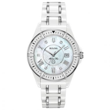 Bulova Marine Star White Ceramic and Stainless Steel Diamond Quartz Watch