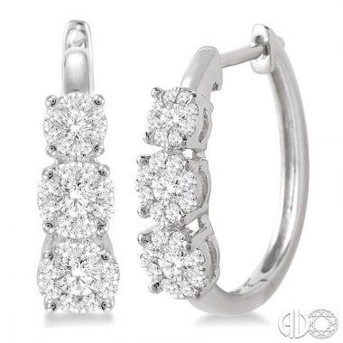 Ashi Diamonds 14k White Gold Lovebright Collection Hoop Diamond Earrings - 910A2DJFVERWG