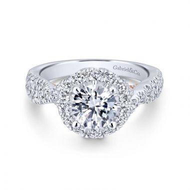Gabriel & Co. 14k Two Tone Gold Blush Halo Engagement Ring
