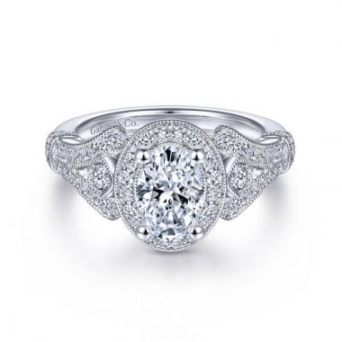 Gabriel & Co. 14k White Gold Victorian Halo Engagement Ring