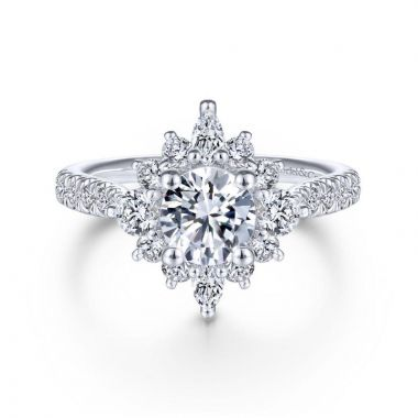 Gabriel & Co. 14k White Gold Starlight Halo Engagement Ring