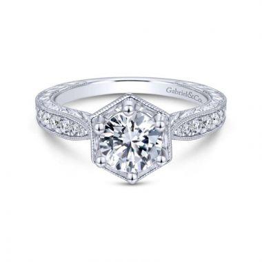 Gabriel & Co. 14k White Gold Art Deco Straight Engagement Ring