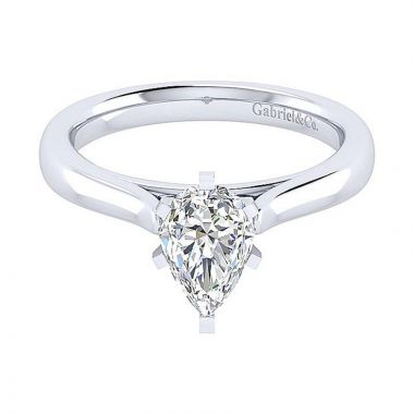 Gabriel & Co 14K White Gold Classic Solitaire Diamond Engagement Ring