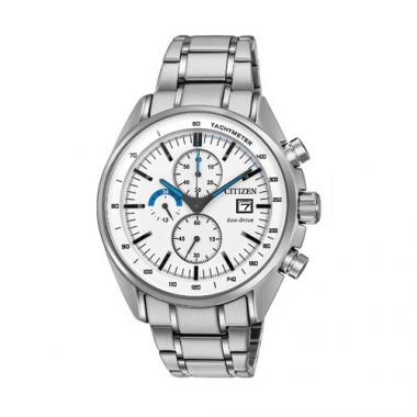 Citizen White Stainless Steel Diamond Chronograph Watch