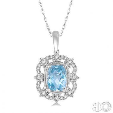 Ashi Diamonds 10k White Gold Diamond & Gemstone Pendant - 61427DJTSPDAQWG