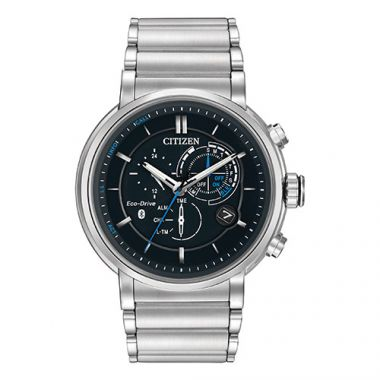 Citizen Eco Drive Black Stainless Steel Diamond Chronograph Watch