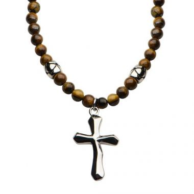 Inox Stainless Steel & Tiger Eye Bead Necklace