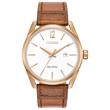 Citizen Rose Stainless Steel Diamond Leather Band Watch